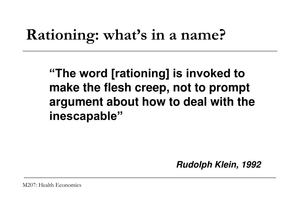 Rationing: what's in a name?