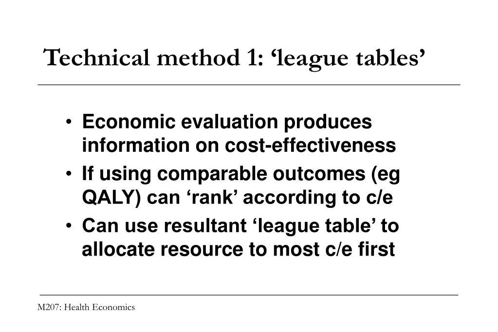 Technical method 1: 'league tables'