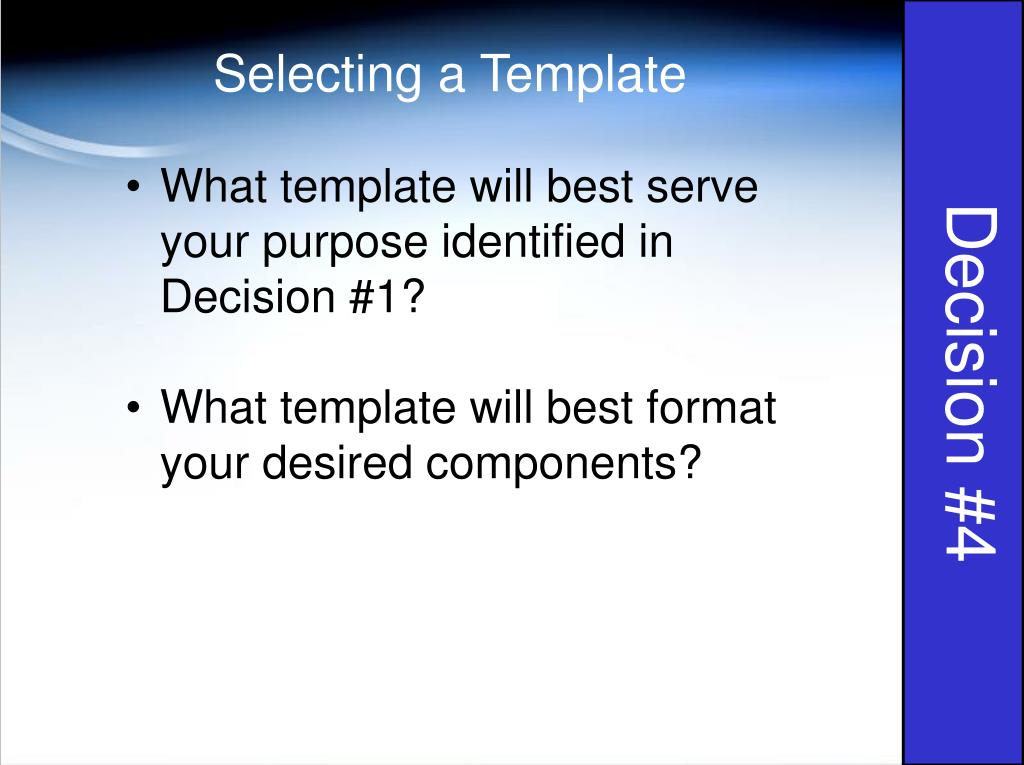 Selecting a Template
