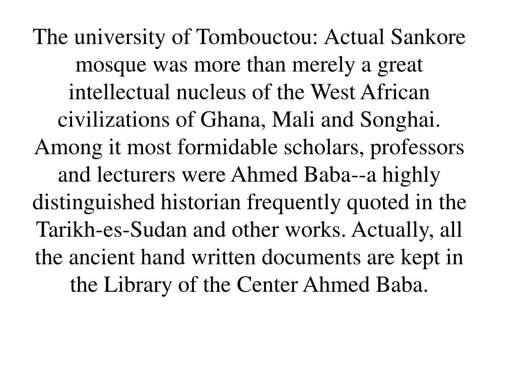 The university of Tombouctou:
