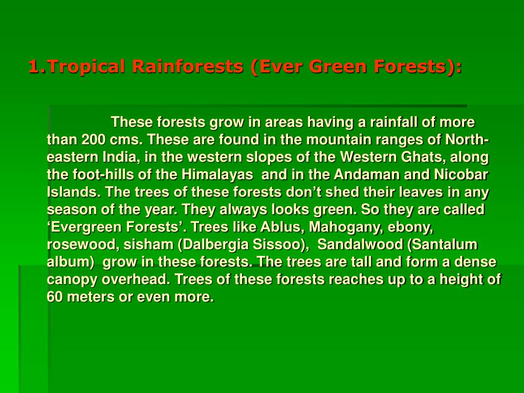 Tropical Rainforests (Ever Green Forests):