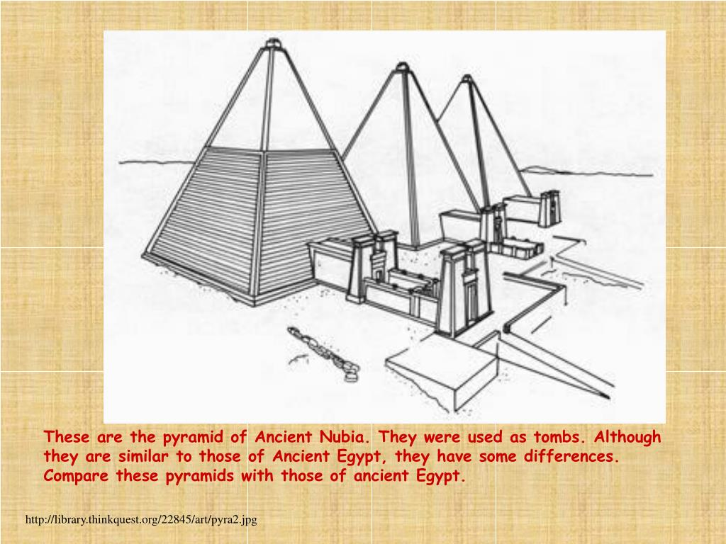 These are the pyramid of Ancient Nubia. They were used as tombs. Although they are similar to those of Ancient Egypt, they have some differences. Compare these pyramids with those of ancient Egypt.