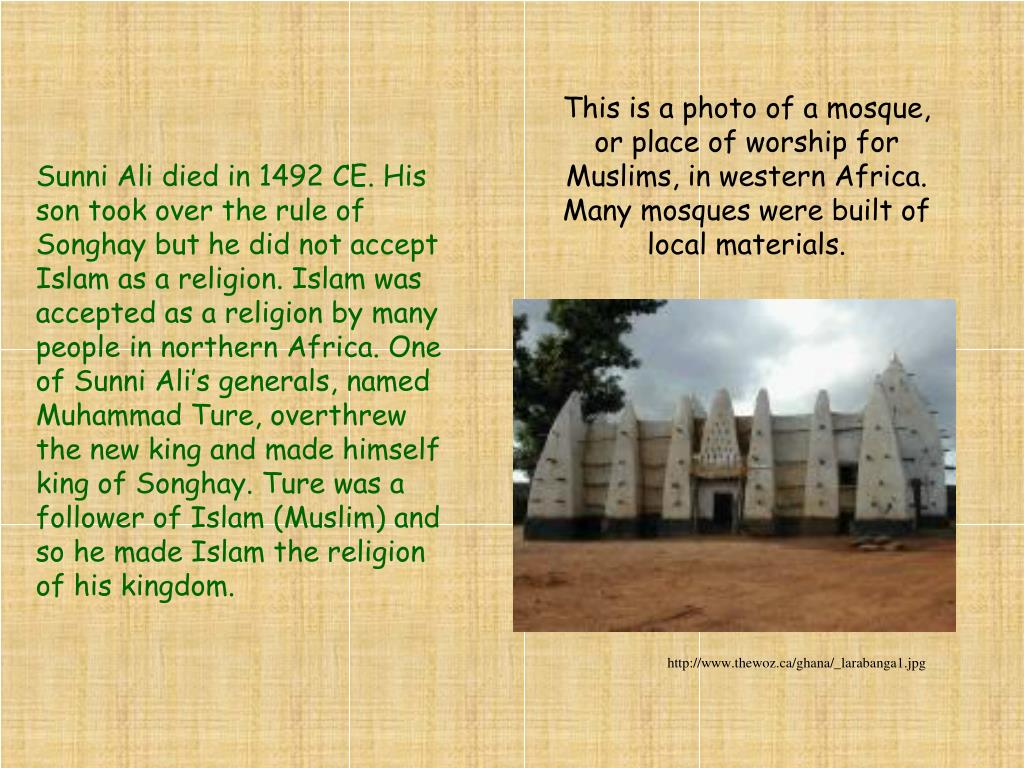 This is a photo of a mosque, or place of worship for Muslims, in western Africa. Many mosques were built of local materials.