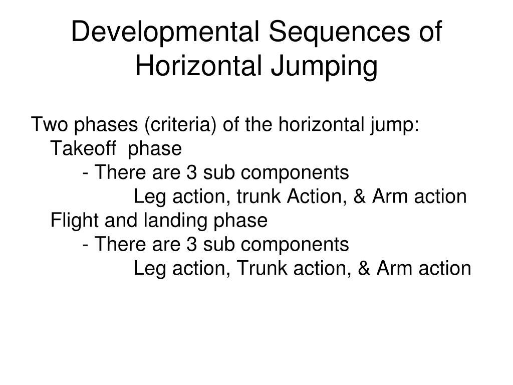 Developmental Sequences of Horizontal Jumping