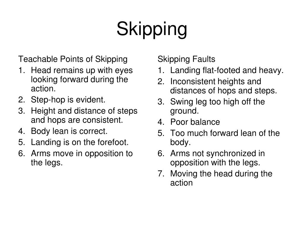 Teachable Points of Skipping