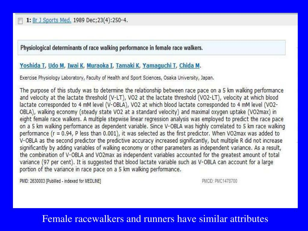 Female racewalkers and runners have similar attributes