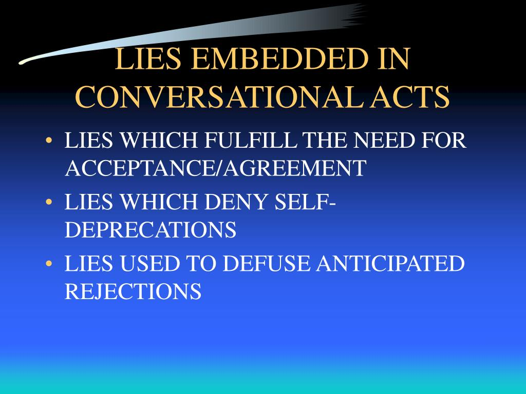 LIES EMBEDDED IN CONVERSATIONAL ACTS