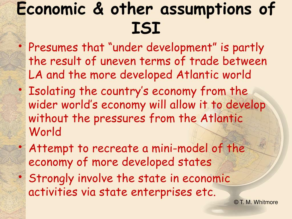 Economic & other assumptions of ISI
