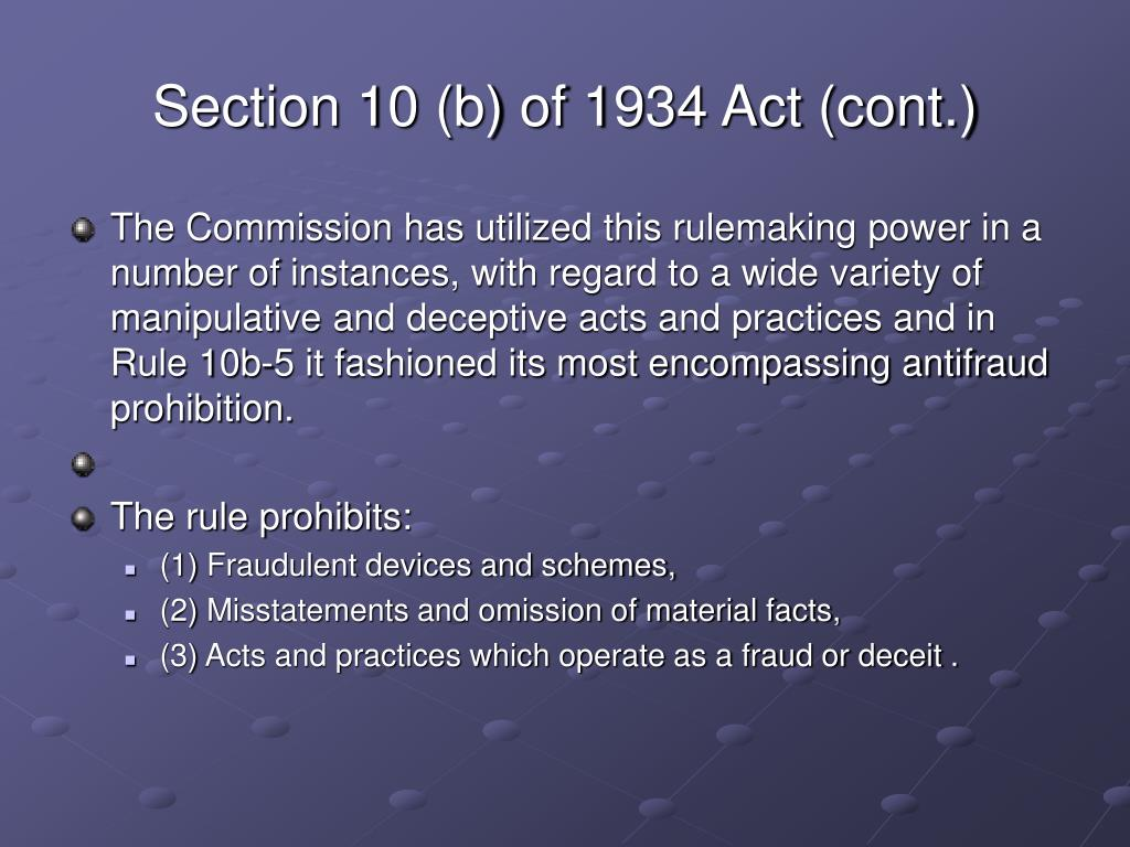 Section 10 (b) of 1934 Act (cont.)