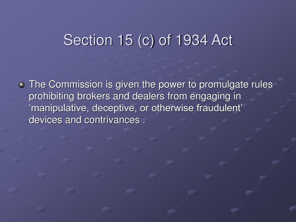 Section 15 (c) of 1934 Act