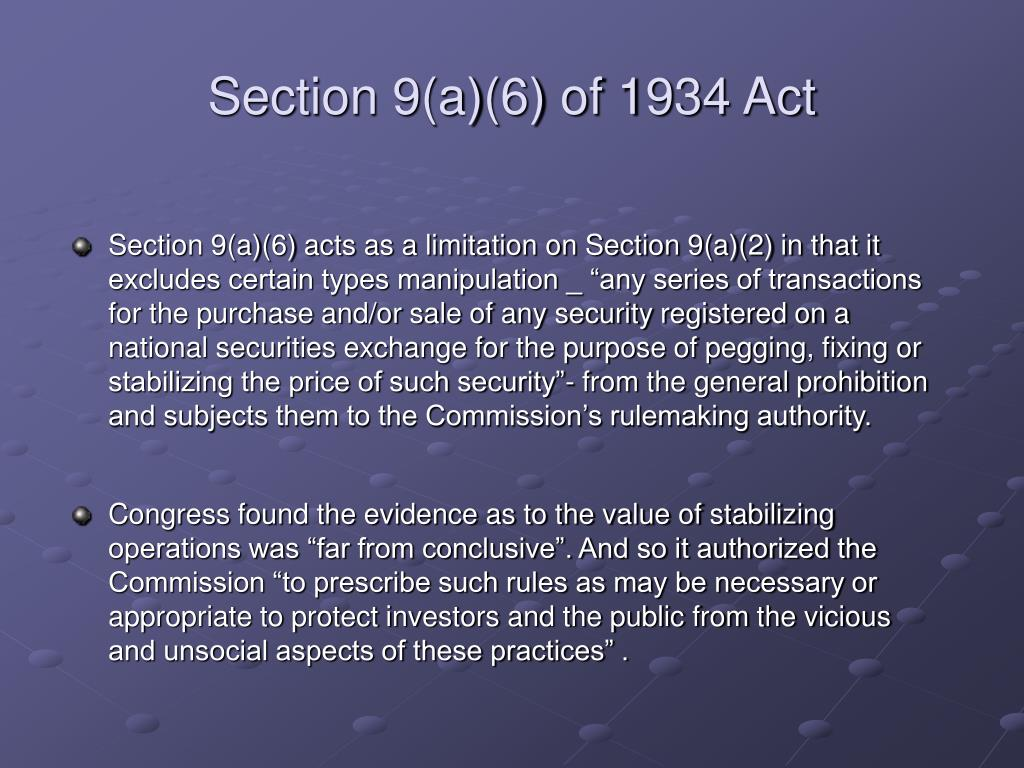 Section 9(a)(6) of 1934 Act