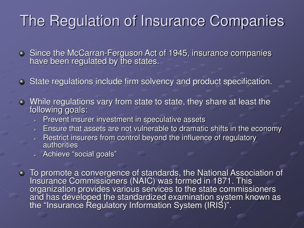 The Regulation of Insurance Companies