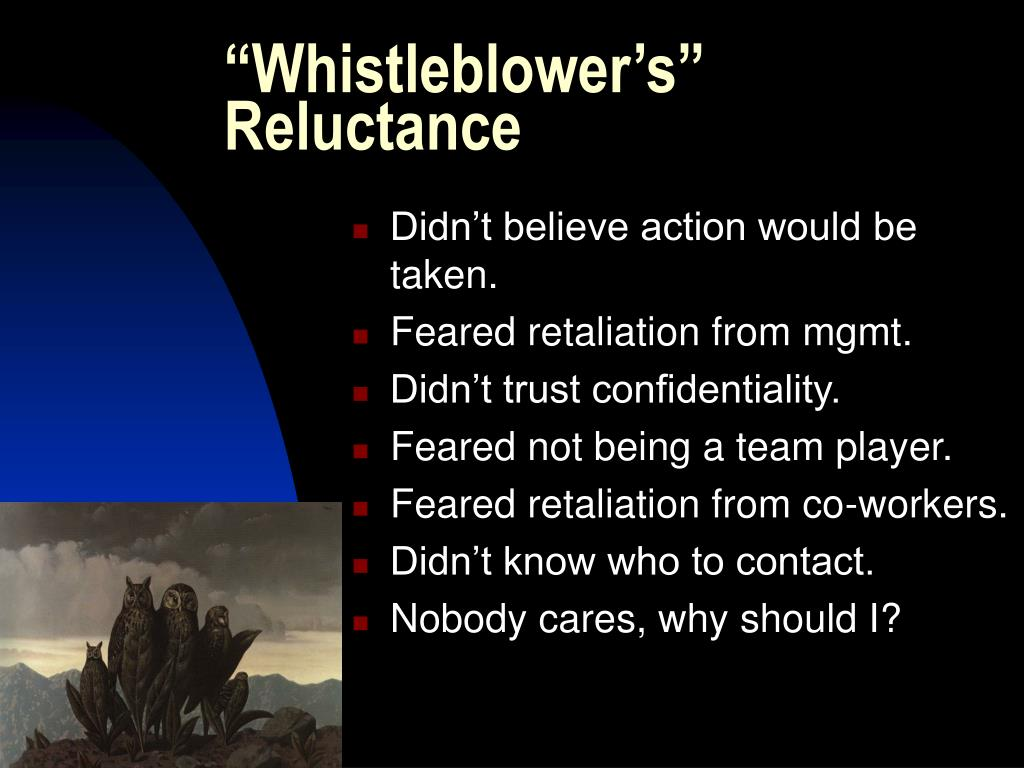 """Whistleblower's"" Reluctance"