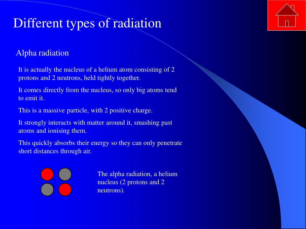 The alpha radiation, a helium nucleus (2 protons and 2 neutrons).