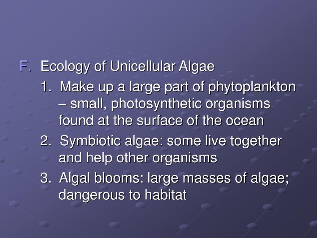Ecology of Unicellular Algae
