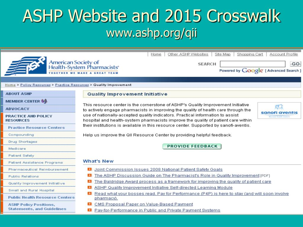 ASHP Website and 2015 Crosswalk