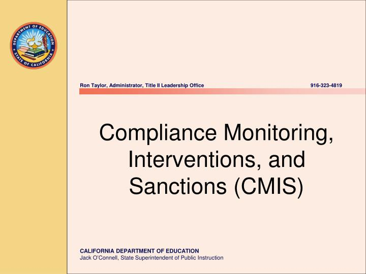 Compliance monitoring interventions and sanctions cmis