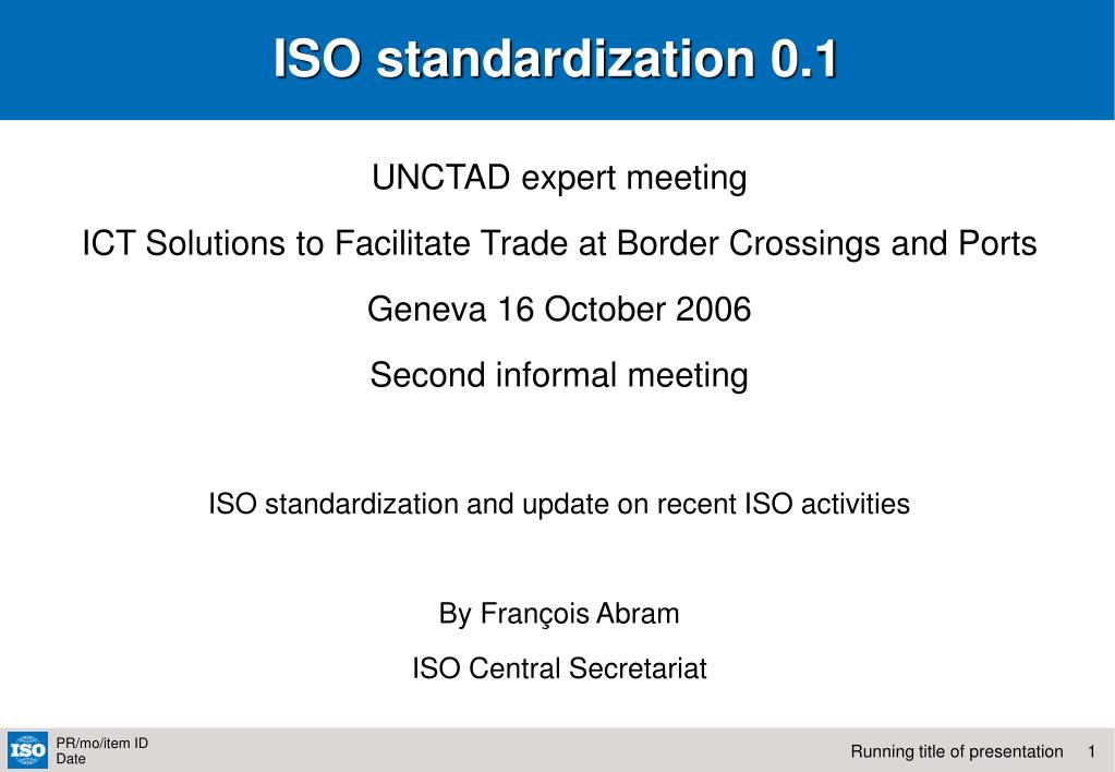 ISO standardization 0.1