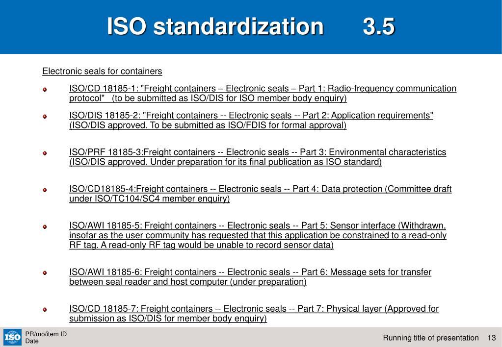 ISO standardization      3.5