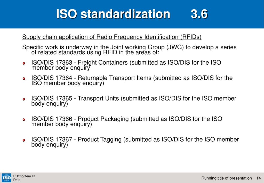 ISO standardization      3.6