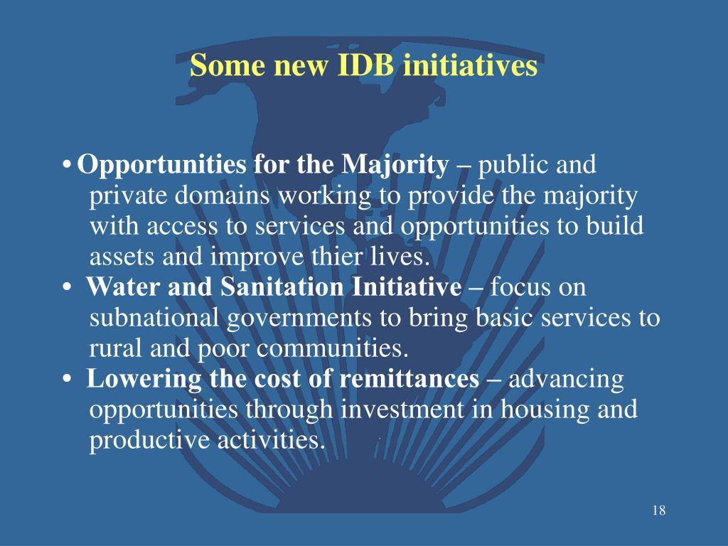 Some new IDB initiatives