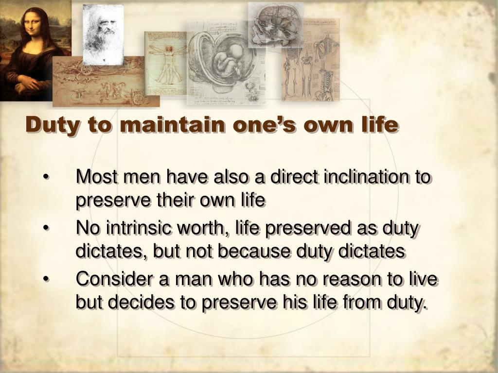 Duty to maintain one's own life