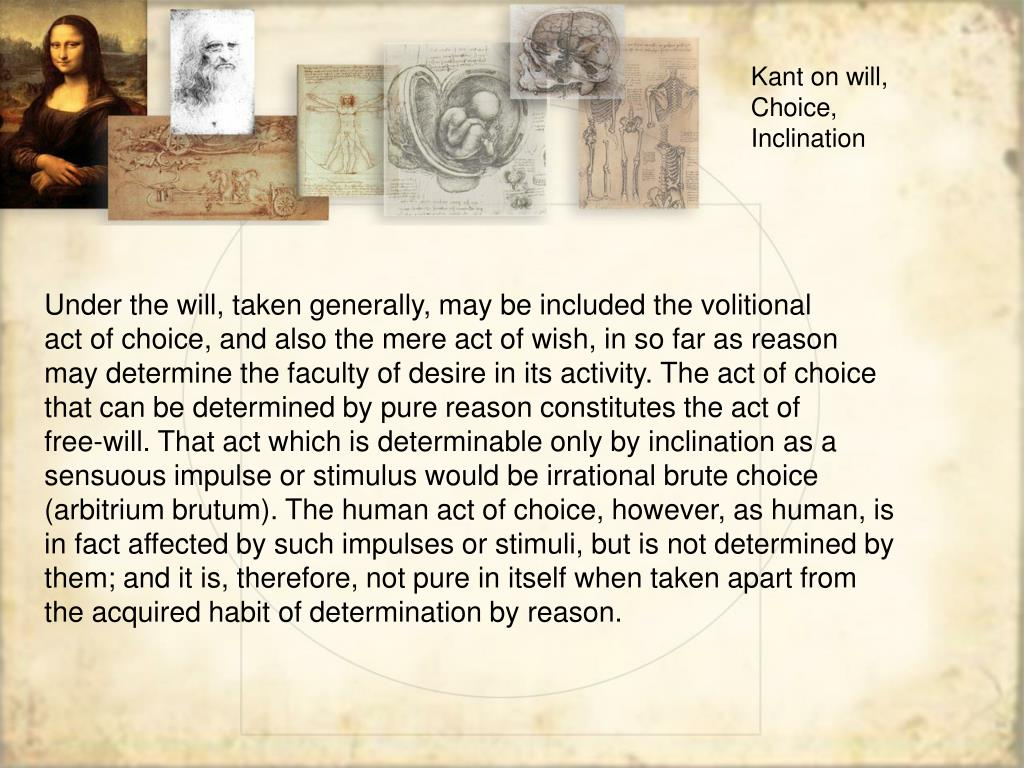 Kant on will,