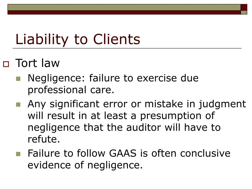 Liability to Clients
