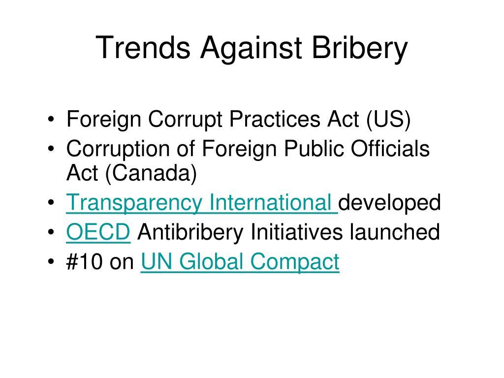 Trends Against Bribery