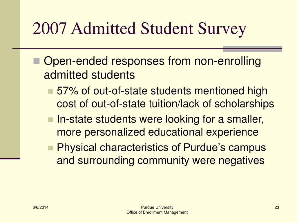 2007 Admitted Student Survey