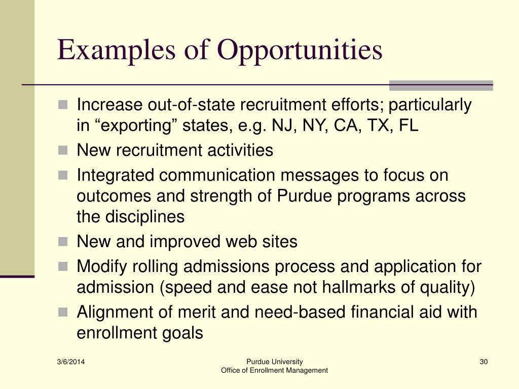 Examples of Opportunities