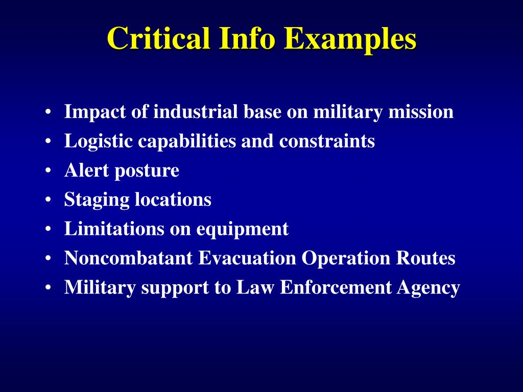 Critical Info Examples