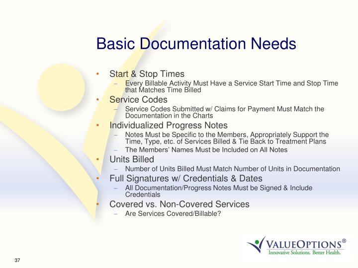 Basic Documentation Needs