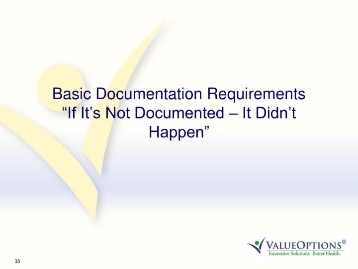 Basic Documentation Requirements