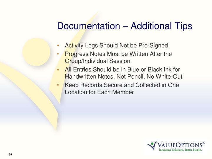 Documentation – Additional Tips