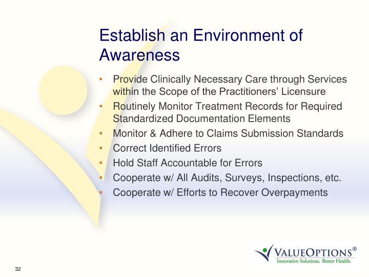 Establish an Environment of Awareness