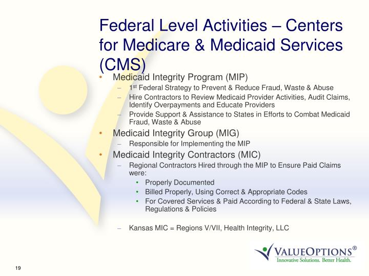 Federal Level Activities – Centers for Medicare & Medicaid Services (CMS)
