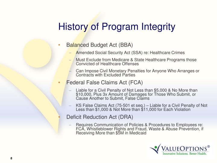 History of Program Integrity