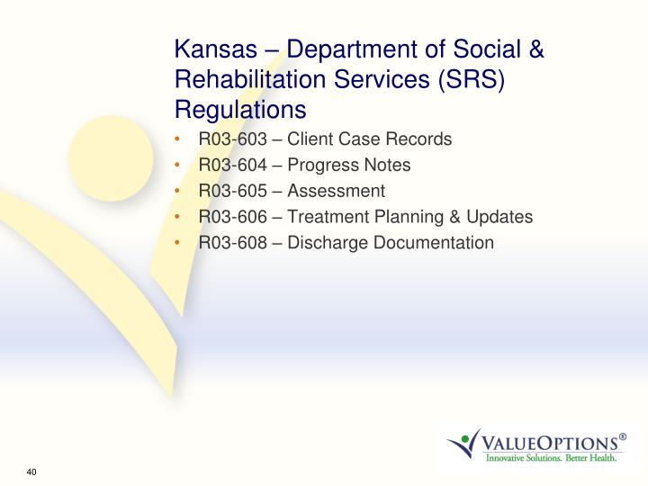 Kansas – Department of Social & Rehabilitation Services (SRS) Regulations