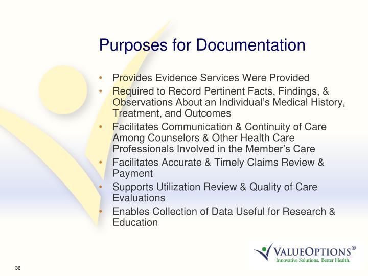 Purposes for Documentation