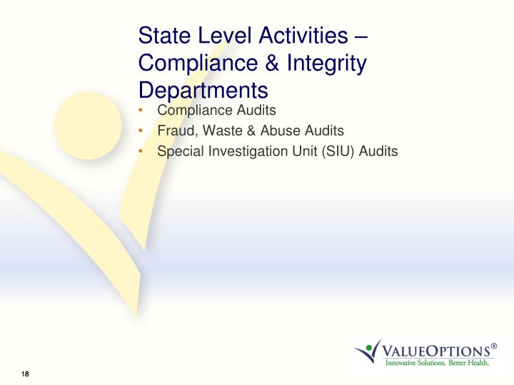State Level Activities – Compliance & Integrity Departments