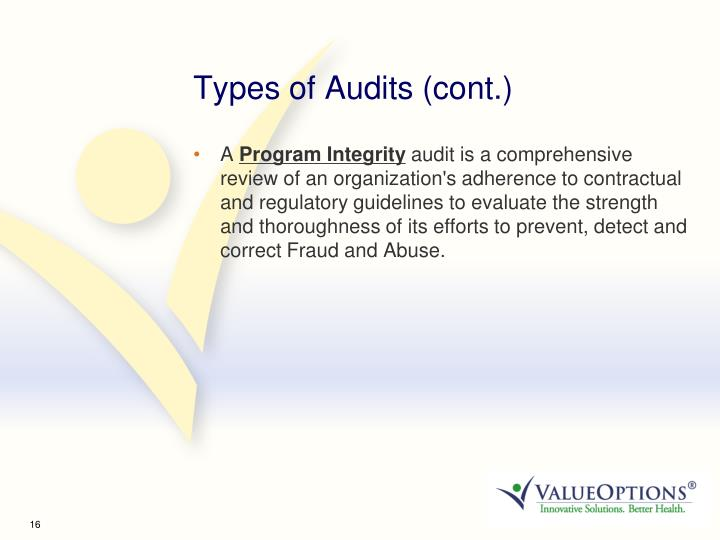 Types of Audits (cont.)