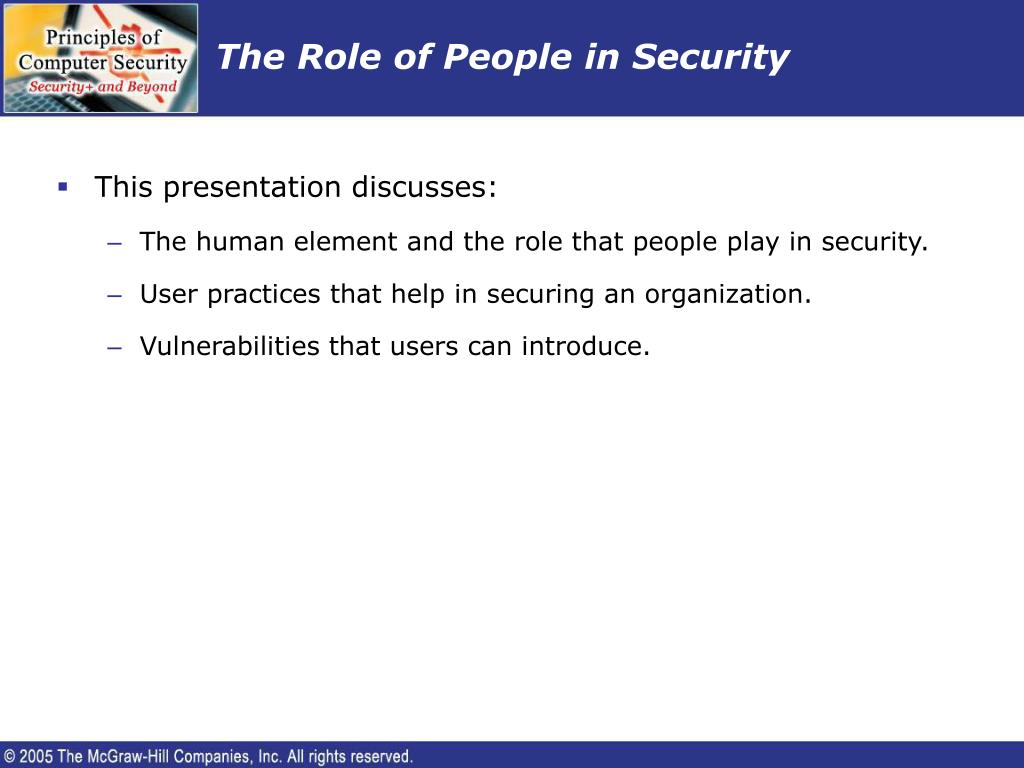 The Role of People in Security