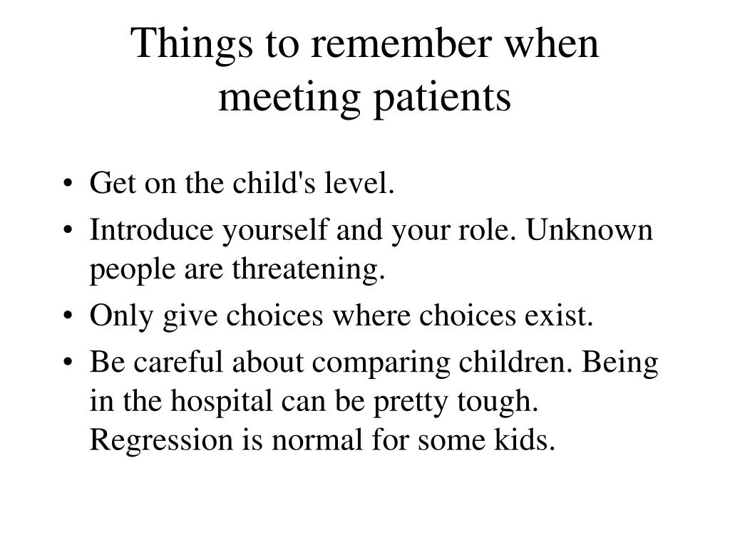 Things to remember when meeting patients