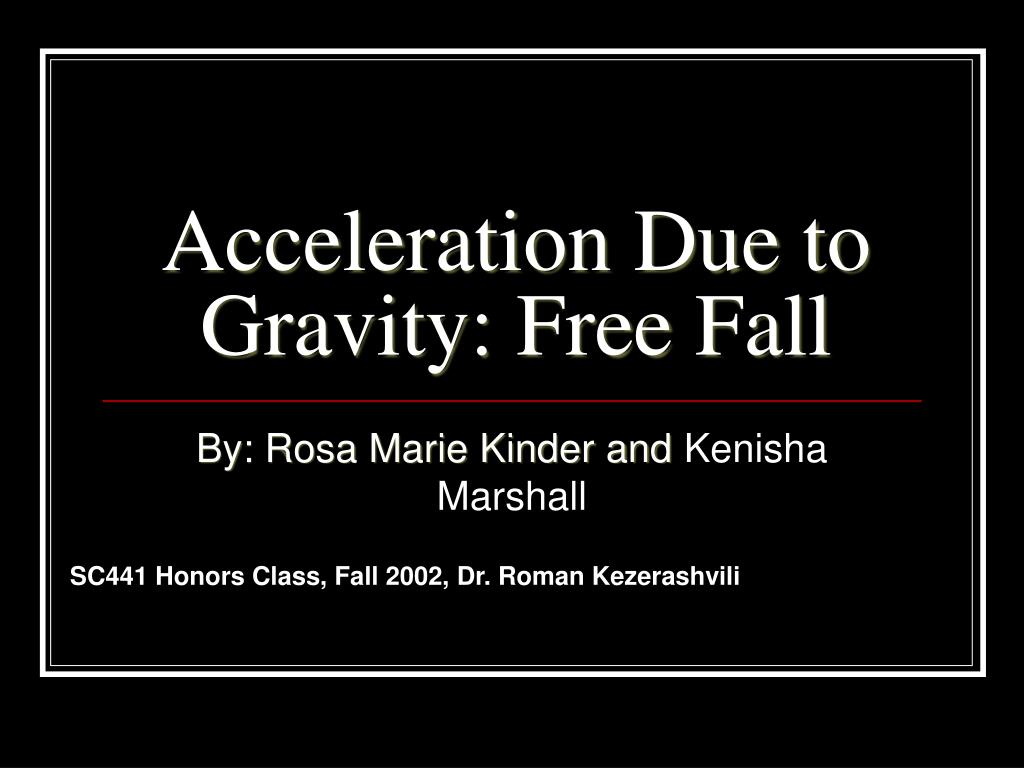 acceleration due to gravity pdf