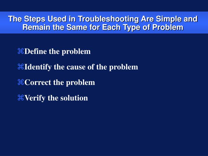 The steps used in troubleshooting are simple and remain the same for each type of problem