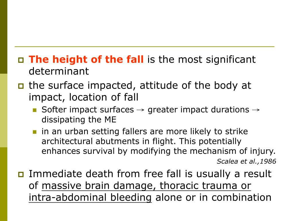 The height of the fall