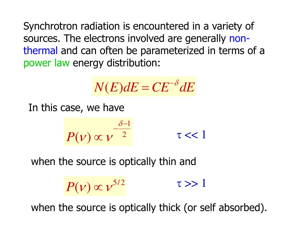 Synchrotron radiation is encountered in a variety of sources. The electrons involved are generally