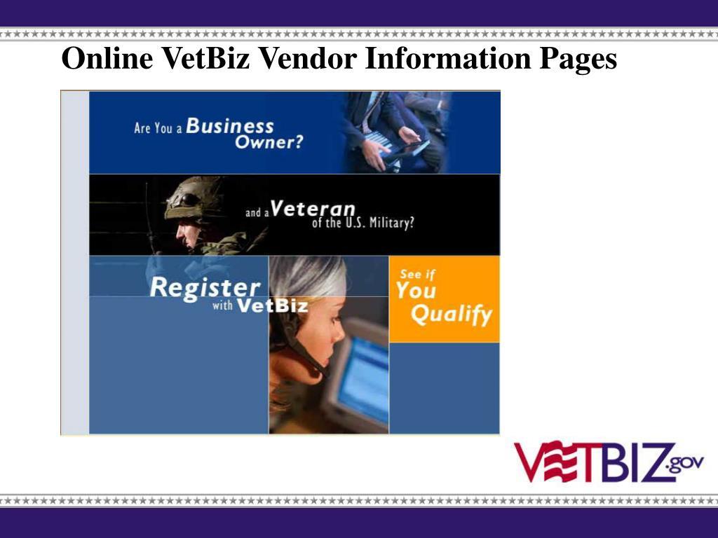 Online VetBiz Vendor Information Pages