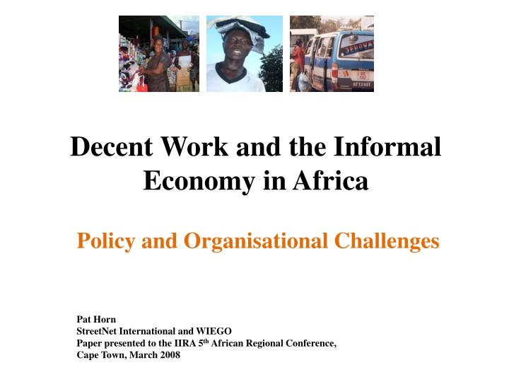 Decent work and the informal economy in africa